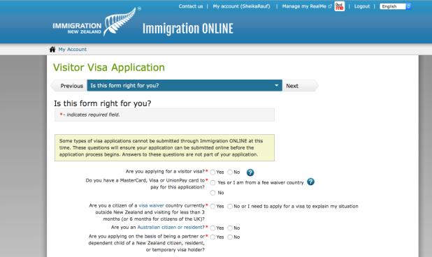 Aplikasi visa NZ online