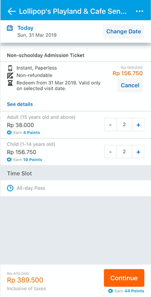 find ticket and continue